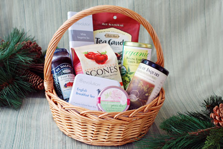 The Tea Time Basket features a variety of organic and exotic teas, scones, fruit jam and candy.