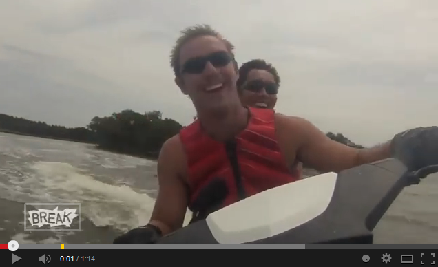 Jet Ski Crash Onto Land at 50 mph
