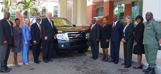 U.S. Embassy Presents Vehicle to Freeport Immigration