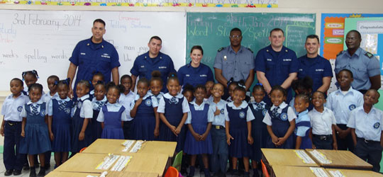 U.S. Coast Guard and RBDF Team Up to Inspire Woodcock Primary Students