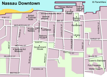 Nassau Bahamas map - downtown area