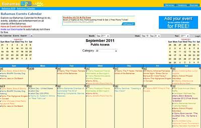 Bahamas Calendar on BahamasB2B.com